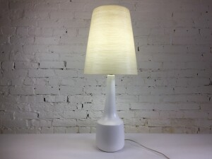 "Iconic , highly collectible Ceramic lamp Designed and produced by Lotte & Gunnar Bostlund - comes with the original fiberglass shade with spun impregnated yarn - Made in Canada - this beauty stands 35""H (SOLD)"