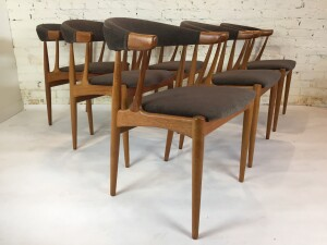Exquisite Set of six Danish modern teak dining chairs designed in the 1960's by furniture designer Johannes Andersen. These chairs feature Andersen's love of organic, intricate yet solid design - incredible quality craftsmanship and a keen eye for detail
