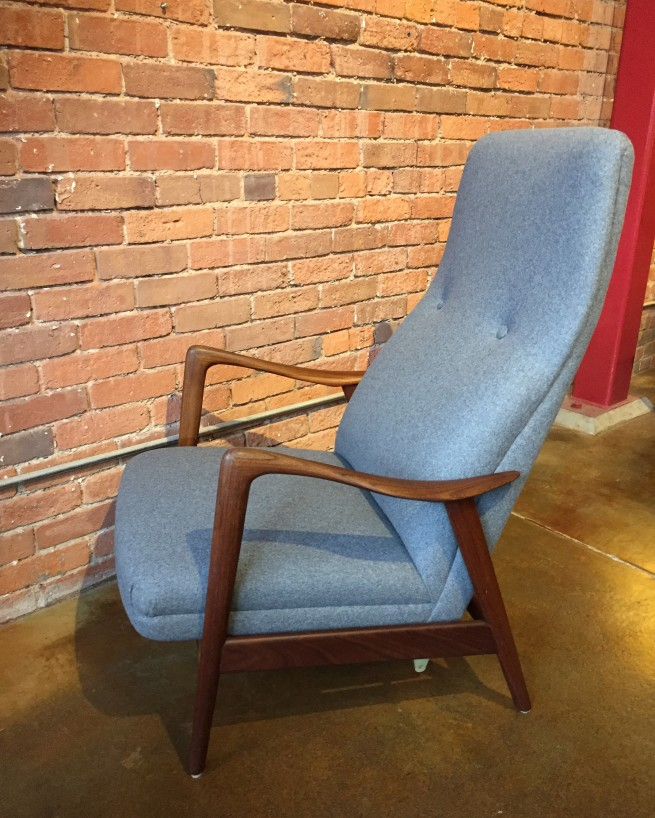 Exceptional Scandinavian Modern high back reclining lounge chair - this beauty has been completely restored - newly refinished sexy solid wood frame - all new foam and medium grey wool upholstery - perfect lumbar - uber comfy - come try it out - $2000