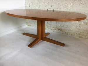 Gorgeous oval teak dining table designed by John Mortensen for Heltborg Mobler . model HM55 - circa 1965 , it is illustrated in the Danish Design Index - this beauty comes with 2 leaves making for a very large dining table that can accommodate up to 12 people, how often do you find this size in the Mid-century Era :) -(SOLD)