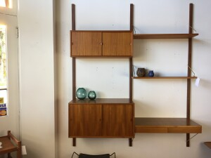 "Incredible and extremely versatile Mid-century Modern teak ""Cado"" wall system - Made in Denmark - perfect for an office, or small condos or anywhere you need some shelving /storage, but yet don't want a heavy look with traditional shelving - this beauty is very airy and very stylish - forma & function - 64.75""L x 15""D x 78""H - $1400"