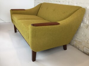 Gorgeous Mid-century Modern loveseat - completely restored with all new straps, foam and a stunning mustard green boucle - (SOLD)