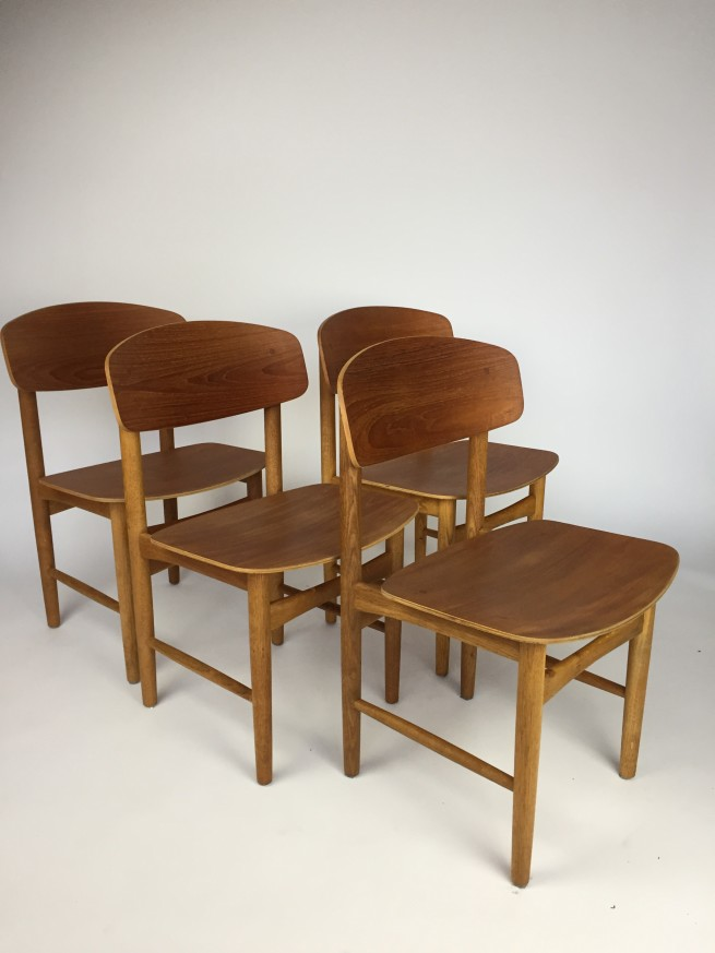 Set of 4 1950's Borge Mogensen set of 4 dining chairs for Soborg - Made in Denmark - teak and oak - classic Danish Beauties - newly re-finished (SOLD)