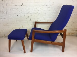 Gorgeous Mid-century Modern teak high back reclining lounge chair - newly upholstered in a fabulous brilliant blue fabric by Maharam - comes with an ottoman - perfect for kicking back listening to some of your favorite vinyl or watching a movie :) -(SOLD)