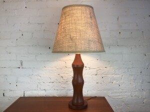 "Gorgeous Mid-century Modern solid teak lamp - such a robust, voluptious, eye pleasing shape - comes with a fantastic new custom burlap shade - this beauty stands - 30""H - (SOLD)"