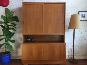 Incredible high quality Mid-century Modern 2 piece teak buffet and hutch by Poul Hundevad - Made in Denmark - lovely contrasting beech interior - adjustable shelving - drawers etc... - a most useful, gorgeous piece of furniture -- comes with the original keys(SOLD)