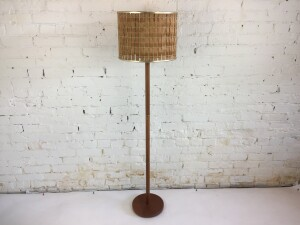 Fantastic Vintage teak floor lamp with a unique original vintage shade - perfect for any room in your Mid-Mod home - (SOLD)