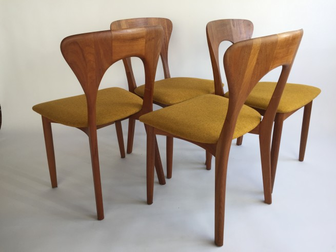 Gorgeous set of 4 quality Danish Modern dining chairs by Koefoeds Hornslet - Made in Denmark -recently reupholstered in a high quality mustard wool by Kvadrat (SOLD)