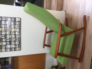 Gorgeous Mid-century Modern teak rocking chair by AB Broderna Johanson - Made in Sweden - newly refinished frame and reupholstered in a spectacular chartreuse color fabric by Maharam - super durable - oh so comfy - (SOLD)
