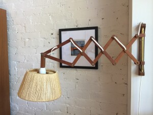 Spectacular Mid-century Modern extendable teak & rope wall light - perfect for over or beside your favorite reading chair, or perhaps your new bedside light :) - (SOLD)