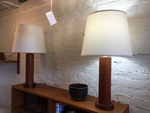 "Gorgeous Pair of 1960's/70's solid teak pillar table lamps with new custom shades - these beauties stand 29.5""H - (SOLD)"