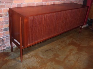 Extraordinary Mid-century modern teak credenza by Danish cabinet maker Niels Vodder - tambour doors - check out those sexy legs - outstanding craftsmanship - (SOLD)