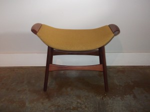 Outstanding Mid-century modern teak foot stool - made in Sweden - original fabric - lovely curve to the seat - definitely stands alone or pull it up to your favorite lounge chair - (SOLD)