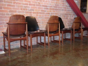 Spectacular set of 6 Danish teak dining chairs - designed by Arne Hovmand-Olsen - - made in Denmark - original black naugahyde upholstery - (SOLD)