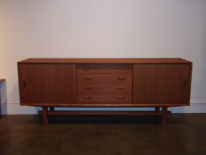 "Handsome vintage teak credenza - perfect media storage unit with your big flatscreen on top or use in your dining area to store your fabulous vintage dishes/glasses/cookware etc..this beauty is in fantastic condition with a lovely grain pattern - measures 76"" L X 16.5"" D X 29.25 D (SOLD)"