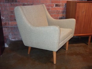 Gorgeous Danish Modern 1950's easy chair - newly upholstered & all new foam - fabric color is (citron) - lovely design and super comfortable - SOLD