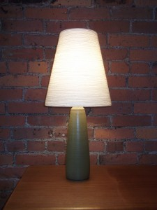 Gorgeous Vintage ceramic lamp by Artists Lotte & Gunnar Bostlund - comes with it's original fiberglass shade and finial - (SOLD)