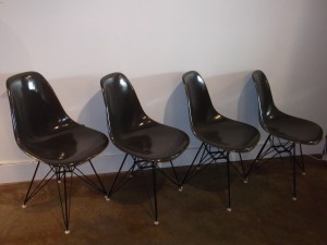 Set of 4 Vintage Original charcoal grey fiberglass shell chairs on the super popular rare eiffel tower base - designed by Charles and Ray Eames for Herman Miller (SOLD)