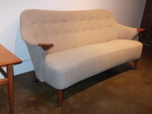"Early Danish modern sofa reupholstered,style and comfort, 67"" L (SOLD)"