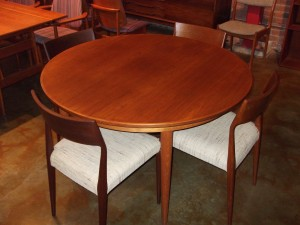 "Danish teak dining table designed by Kai Kristiansen for Skovmand &Andersen - comes with 2 leaves - 47"" diameter with leaves that add 19.75"" per leaf  - lovely condition - (SOLD)"