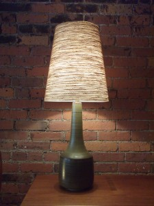 "Outstanding 1960's ceramic lamp with it's original fiberglass lamp shade by husband and wife duo Lotte & Gunnar Bostlund - stunning mossy green/brown swirled color - this beauty stands - 34.75""H - (SOLD)"