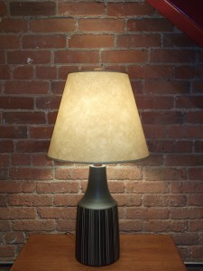 Gorgeous Mid-century modern Martz ceramic lamp - designed by Gordon and Jane Martz for Marshall Studios - USA - signed at base - gorgeous charcoal with stripes - comes with the original finial - stands - 31&quot;H - $325