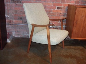 Gorgeous pair of Scandinavian high back teak easy chairs - newly upholstered in a lovey citron fabric - incredibly comfortable - SOLD