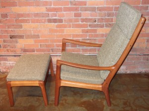 Outstanding Mid-century modern teak high back lounge chair and ottoman designed by Ole Wanscher for Cado ( previously) France & Son - incredibly well made - newly upholstered in a quality soft light green fabric and all new foam - very comfortable - (SOLD)