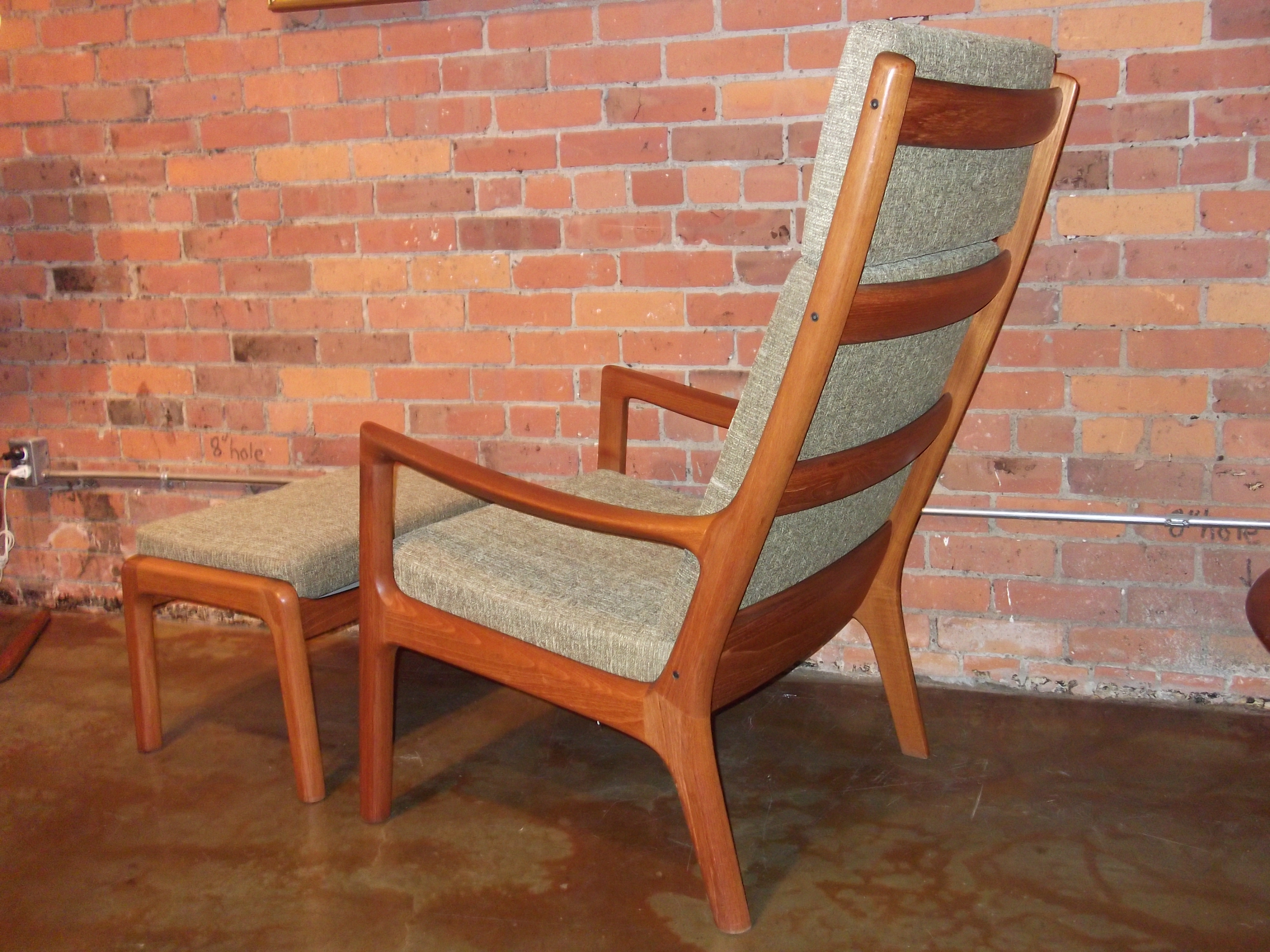 Outstanding Mid century modern teak high back lounge chair and ottoman  designed by Ole Wanscher. The Fabulous Find   Mid Century Modern Furniture Showroom in