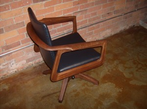 Spectacular Mid-century modern **MAD MEN** office chair - re-foamed & re-upholstered - ready to go - super comfy - fantastic design - beautiful solid wood - (SOLD)