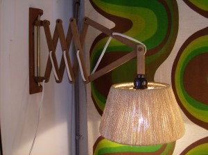 Retractable teak wall light with original rope shade,great for a reading light (SOLD)