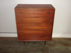 "Handsome 1960's teak 5 drawer highboy by Punch Designs - newly refinished top - very good vintage condition - 3Ft x 18""D x 43""H SOLD"