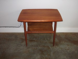 "Handsome 1950's 2 tier end table - made in Denmark - imported bny Moreddi - fantastic design - Danish quality control stamp - excellent vintage condition 29.5""L x 19.5""D x 23.5""H - $275"