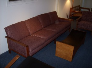 Stunning Danish teak 3 seater sofa by designer Hans Olsen -  has been recovered recently - Stylish and comfortable - perfect!! A steal at  (SOLD)