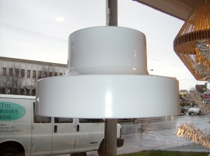 Fabulous super white vintage pendant light by Lightolier - (SOLD)