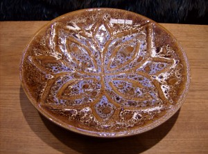 Stunning Chalvignac ceramic shallow dish.  Made in Montreal - 1960's-70's - (SOLD)