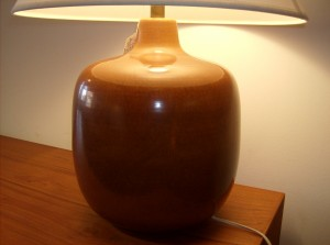 Stunning Vintage designer Lotte Bostlund chocolate brown ceramic  lamp base - (SOLD)