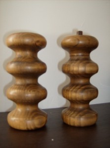 Vintage Walnut  turned  peppermill and salt shaker by designer Michael Lax for Copco - Italy - $65/set