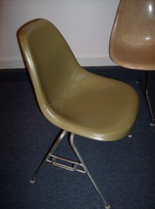 Fabulous Original Vintage Eames for Herman Miller side chair in olive green vinyl on a stacking base - (SOLD)