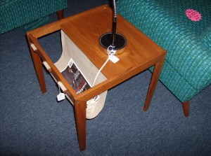 Fantastic 1960's Danish teak/canvas end table/magazine rack - by Bent Silberg - (SOLD)