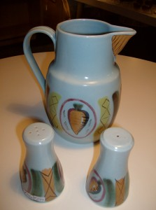 Fabulous 1960's/70's Buchan pottery (made in Scotland) Jug and S/P shakers - $65/set