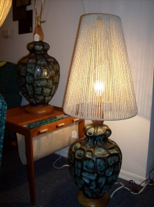Super funky Maurice Chalvignac pottery lamps - made in Quebec circa 196o&#039;s - (SOLD) (one comes with an original shade - one does not)