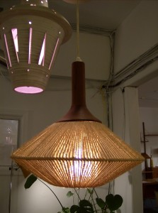 Fantastic Mid-century modern teak&amp;rope hanging light (mint condition)- (SOLD)