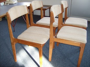 Fabulous set of 4 Mid-century modern teak dining chairs - (SOLD)