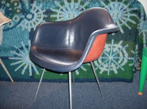 Original  Eames RARE red fiberglass arm shell chair w/navy blue vinyl cover - 2 available - (SOLD)
