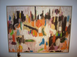 "Fabulous vintage abstract oil painting signed M. Mathie - 1970 - 40""X30"" -  (SOLD)"