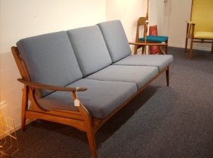 Stunning Sculptural Mid-century modern teak sofa w/nice dusty blue wool cushions - (SOLD)