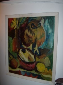 "Fabulous Funky Mid-century modern oil painting of an owl and fruit - signed Cook '67 - Artist Lloyd Cook - 27""X32"" including the frame - (SOLD)"