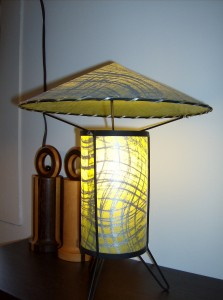 Spectacular 1950&#039;s Atomic table lamp - excellent condition - WOW - this lamp stands 14&quot; to the pointed top - (SOLD)