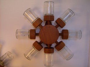 WOW, check this out!! Danish teak/glass spice wheel (8 spice jars), it mounts to the wall and spins - you have to see this wonderful Danish creation - circa 1965 manufactured by Digsmed - (SOLD)